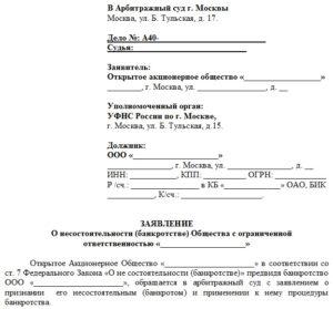 Бланк заявления в суд о банкротстве ООО